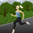 Running woman in the city park. — Stockvector