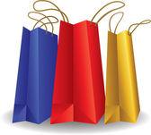 Bolsas de papel colorido aislados en blanco — Vector de stock