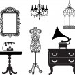 Antique furniture — Vector de stock