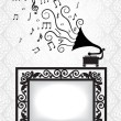Antique frame and gramophone — Stock Vector