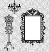Frame, mannequin and chandelier — Vector de stock