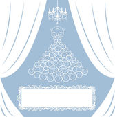 Dress on hanger, white curtains, antique chandelier and frame — Stock Vector