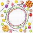 Background with candies and doodle frame — Stock Vector #13898067