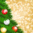 Christmas tree and baubles — Vector de stock