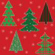 Stock Vector: Christmas tree patchwork fabric