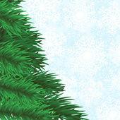 モミの木と雪片の背景 — ストックベクタ