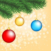 Christmas tree branch with baubles — Stockvector