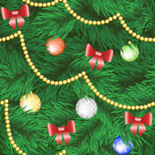 Christmas tree with bauble and bow — Vector de stock