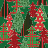 Christmas tree patchwork fabric — Stock Vector