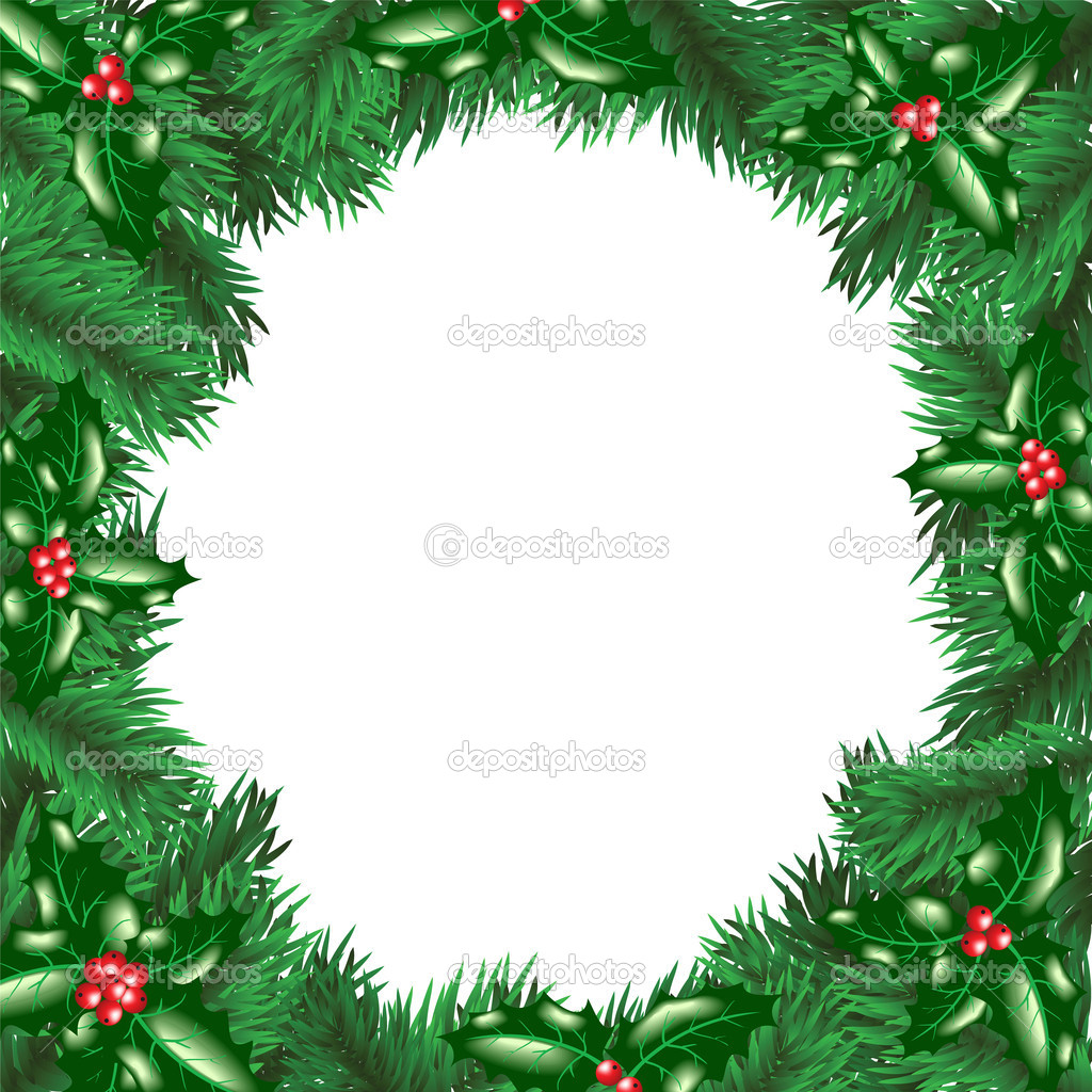 Christmas tree with holly berry leaves frame  — Stock Vector #13898097