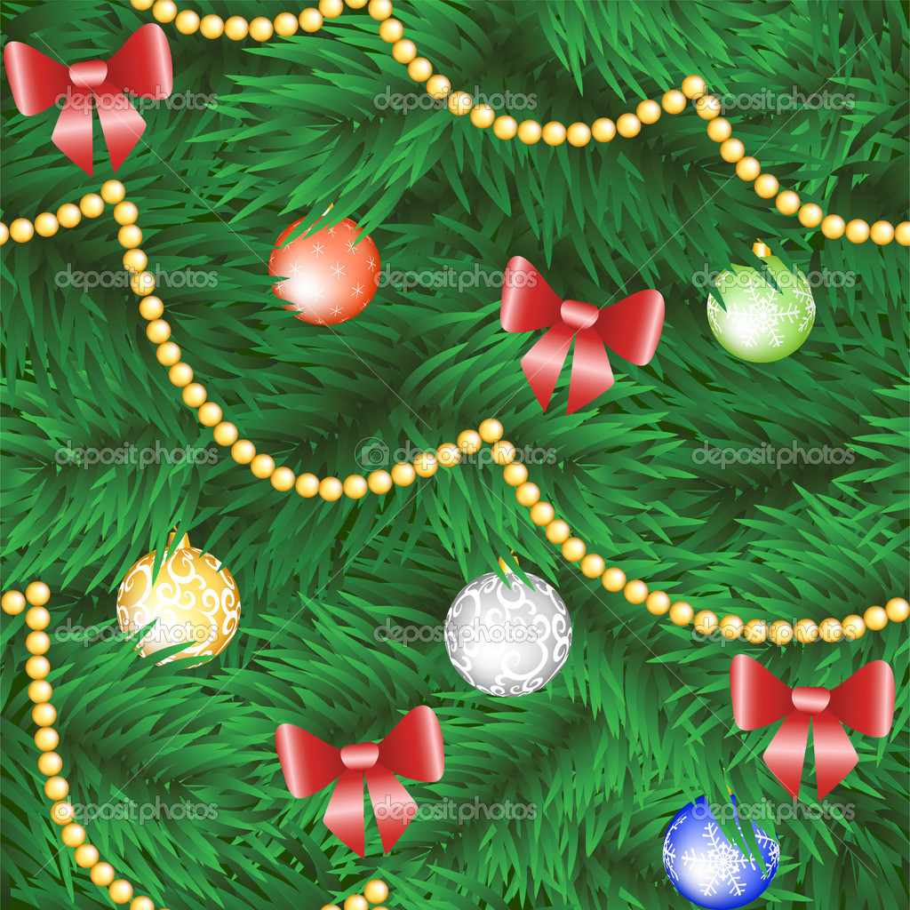 Christmas tree seamless background with bauble and bow  Stock Vector #13898131