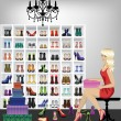 Blonde woman trying on shoes in boutique — Stock Vector #14802941