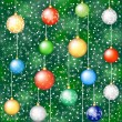 Christmas background with tree and hanging baubless — Vettoriali Stock