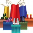 Royalty-Free Stock Vektorfiler: Boxes with woman shoes and shopping bags