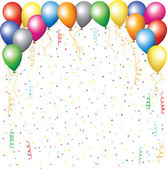 Balloons, confetti and serpantine — Vector de stock