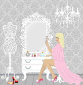 Beautiful fashion woman in her boudoir — Stock Vector