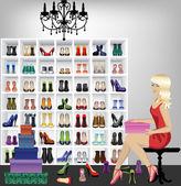 Blond kvinna försöker på skor i butik — Stockvektor