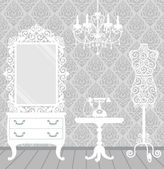 Woman room in vintage, boudoir style — Stockvector