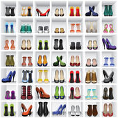 Shoes on shelves — Vector de stock