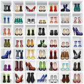 Zapatos en estantes — Vector de stock