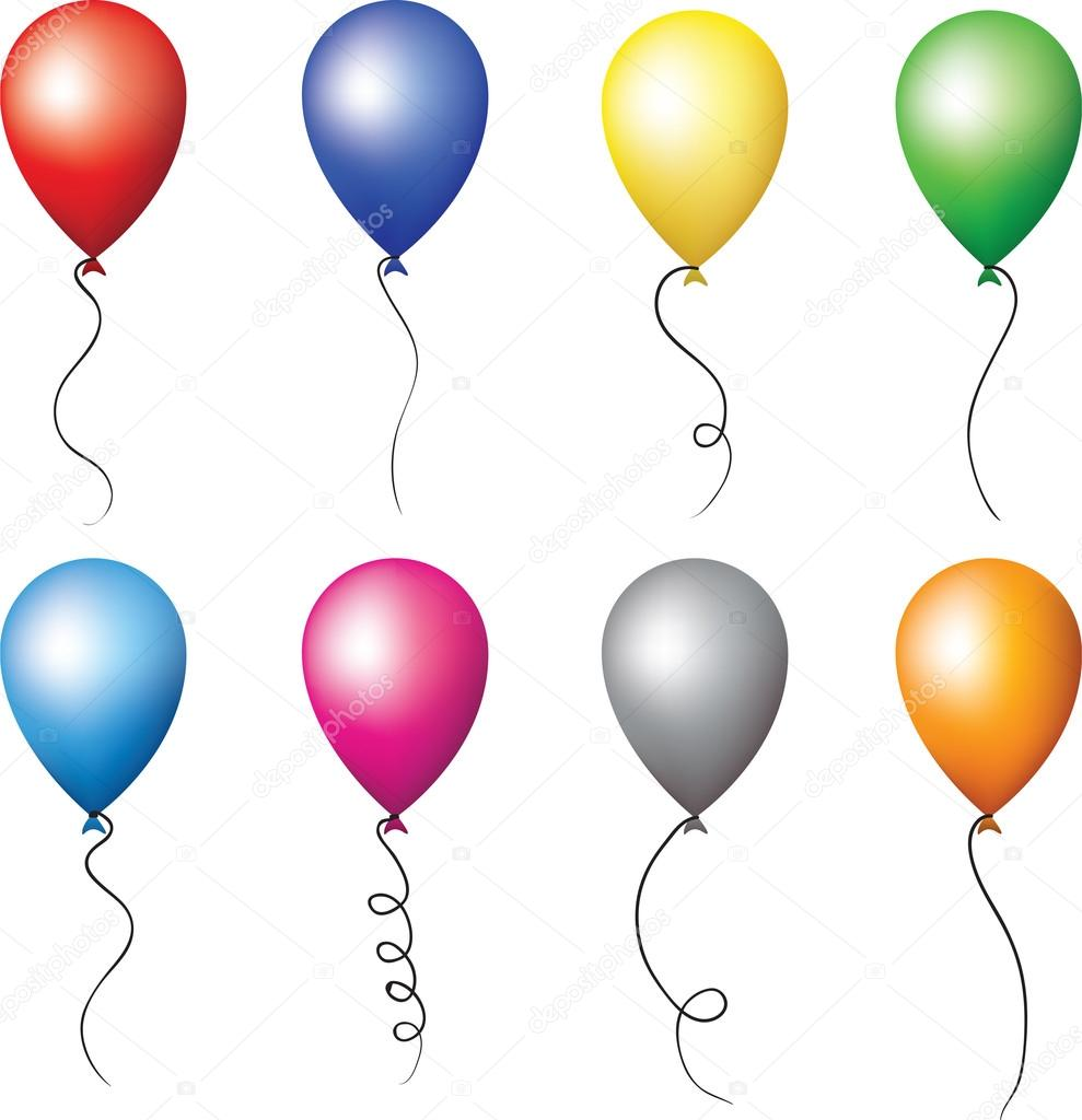 Colourful balloons for holiday decoration. happy birthday party set  Stock Vector #14802907
