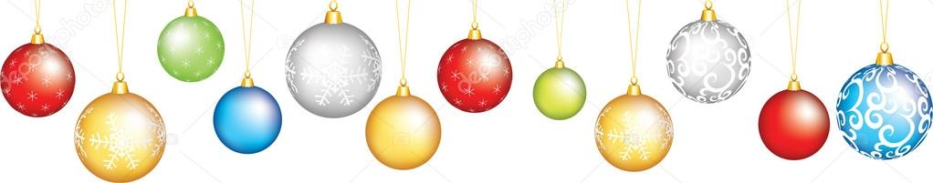 Christmas seamless border with baubles — Imagen vectorial #14803065