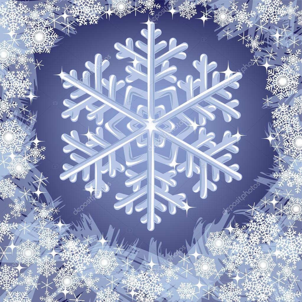 Congelados fondo con copos de nieve de navidad vector de stock