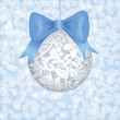 Lace bauble and blue bow — Stock Vector