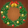 Christmas garland on wood background — Vettoriali Stock