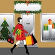 Woman with shopping bag and gift — Stock Vector