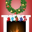 Fireplace, socks and garland — Stock Vector