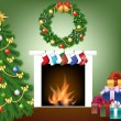 Tree, fire place, socks, gifts and garland — Stock Vector