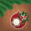 Paper bauble, wood background — Imagen vectorial