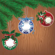 Royalty-Free Stock Imagen vectorial: Paper bauble, wood background
