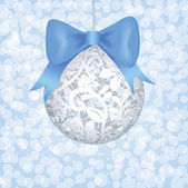 Lace bauble and blue bow — Vector de stock