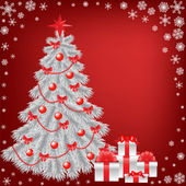 White christmas tree with gift — Stock Vector