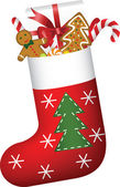 Christmas sock full of gifts — Stock Vector