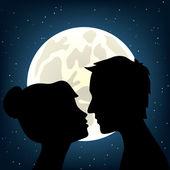 Man and woman kissing — Stock Vector