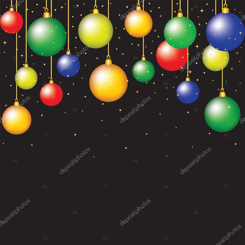 Cristmas card with hanging baubles on black background — Stock Vector #16506683
