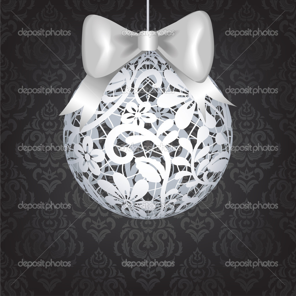 Christmas card with lace bauble and dark vintage wallpaper — Stock Vector #16506725