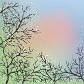 árboles florecientes y cielo azul — Vector de stock