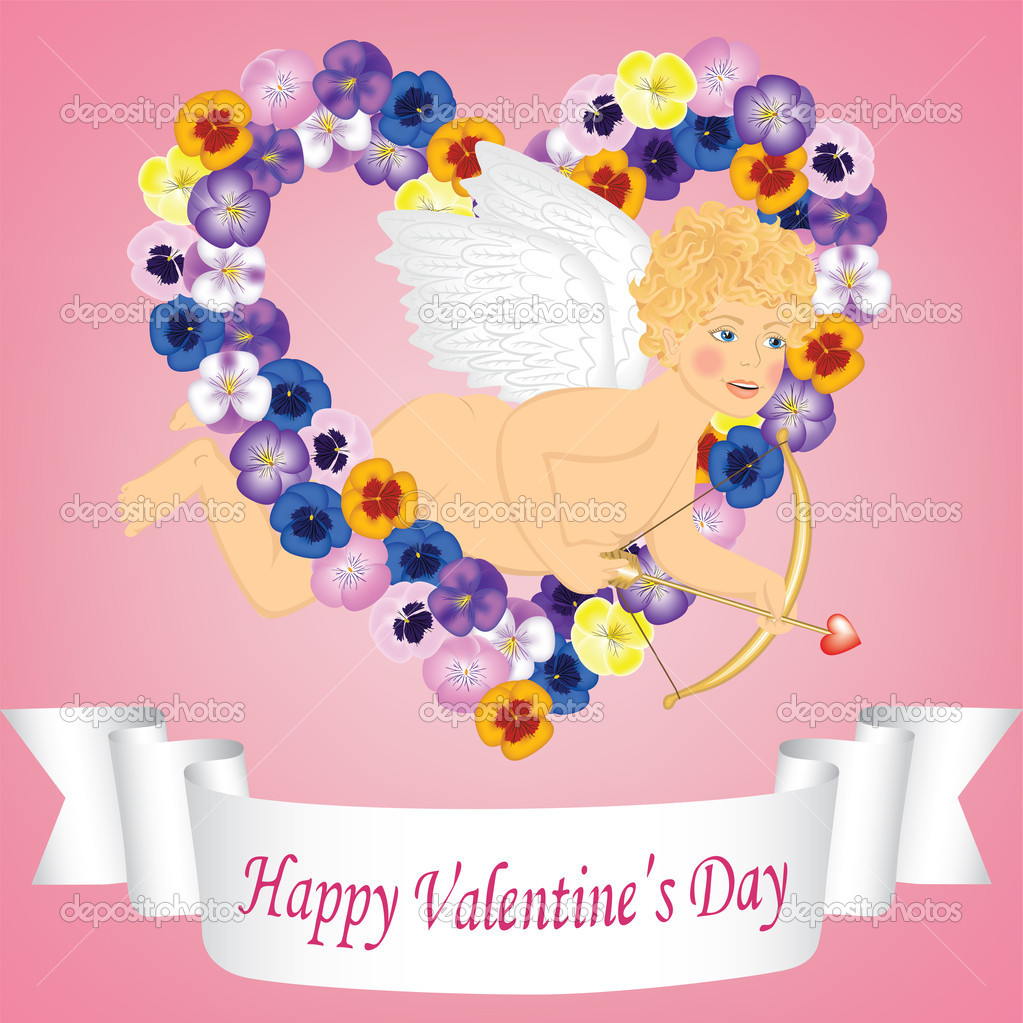 Vintage valentine card with angel, ribbon and flower heart  Stock Vector #18690775