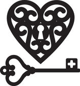 Heart and skeleton key — Stock Vector