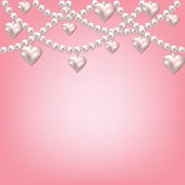 Heart pearl necklace — Stockvector
