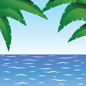 Palm and ocean — Stock Vector