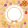 Background with candies frame - Stock Vector