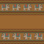 Indický vzor se slon — Stock vektor
