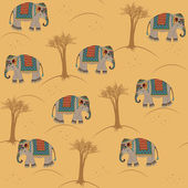 Indian pattern with elephant — Stock Vector