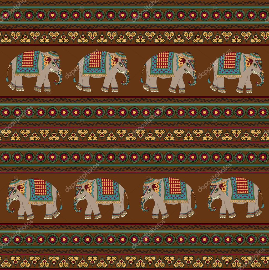 Indian art patterns elephants