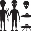 Alien and UFO - Stock Vector